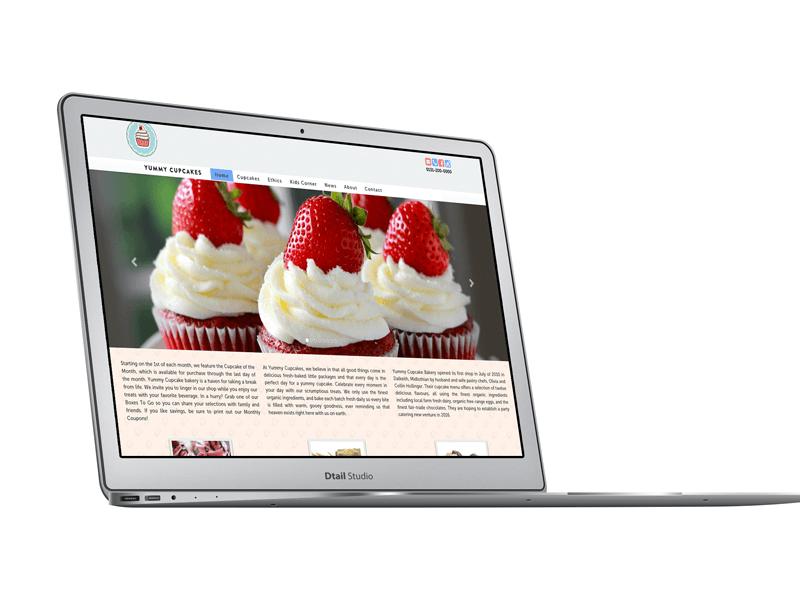 Yummy Cupcakes - website preview